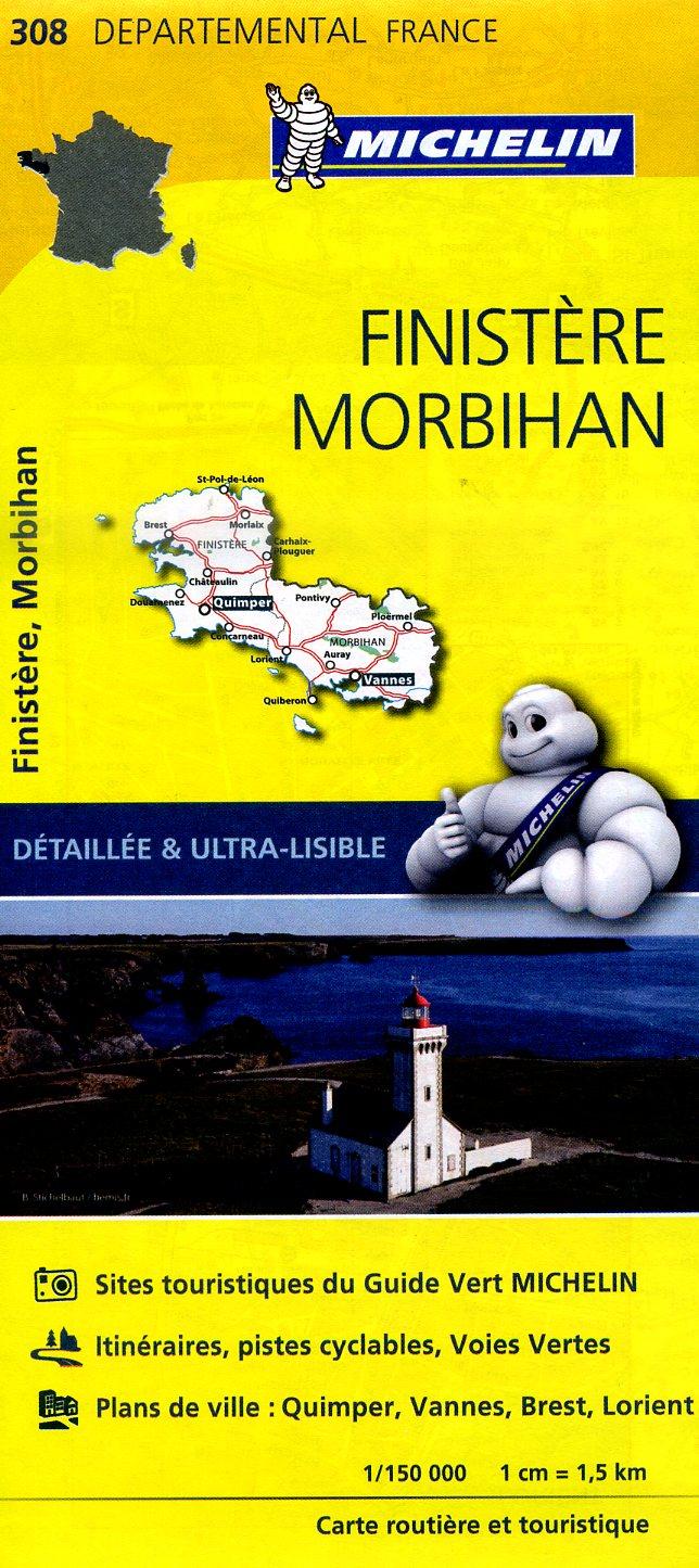 308  Finistère, Morbihan | wegenkaart, fietskaart 1:150.000 9782067202092  Michelin Local / Departementskaarten  Landkaarten en wegenkaarten Bretagne