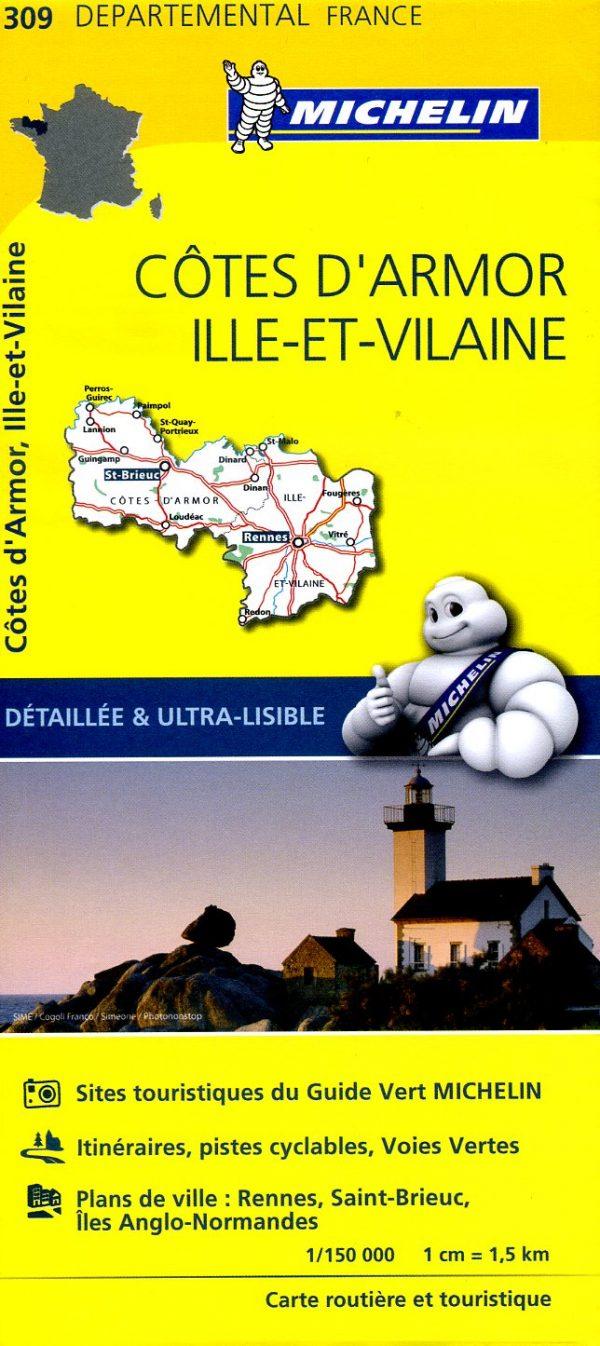 309  Côtes d Armor, Ille-et-Vilaine | wegenkaart, fietskaart 1:150.000 9782067202108  Michelin Local / Departementskaarten  Landkaarten en wegenkaarten Bretagne
