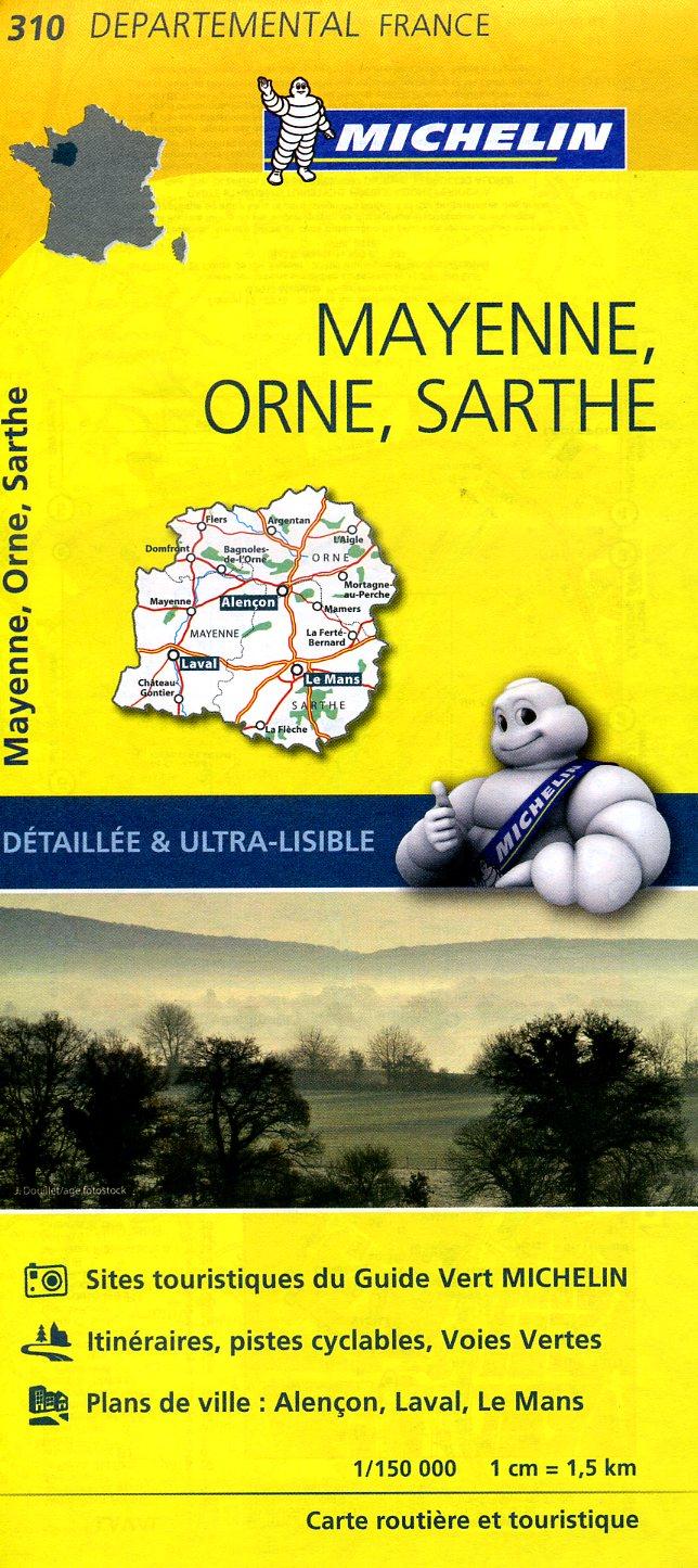 310  Mayenne, Orne, Sarthe | wegenkaart, fietskaart 1:150.000 9782067202122  Michelin Local / Departementskaarten  Landkaarten en wegenkaarten Loire & Centre
