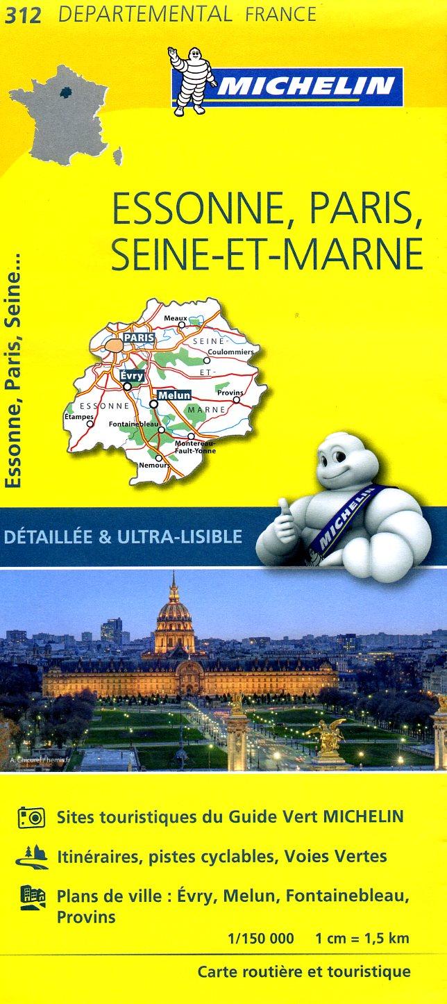 312  Essonne, Paris, Seine-et-Marne | wegenkaart, fietskaart 1:150.000 9782067202146  Michelin Local / Departementskaarten  Landkaarten en wegenkaarten Parijs, Île-de-France