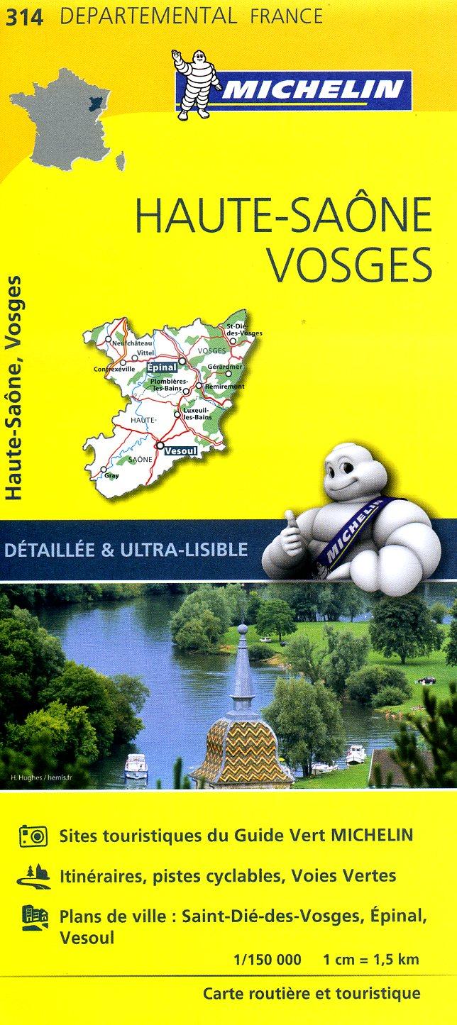 314  Haute-Saône, Vosges | wegenkaart, fietskaart 1:150.000 9782067202160  Michelin Local / Departementskaarten  Landkaarten en wegenkaarten Vogezen