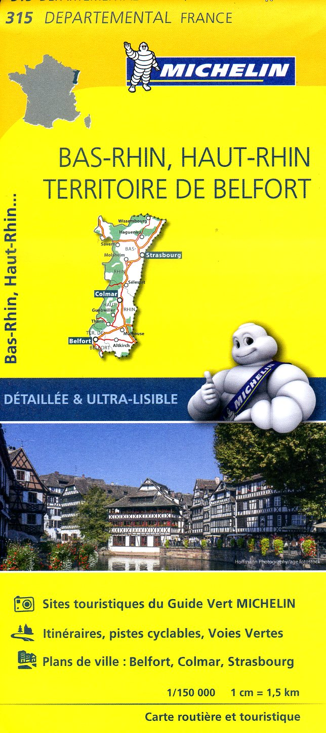 315  Bas-Rhin, Haut-Rhin, Territoire de Belfort | wegenkaart, fietskaart 1:150.000 9782067202177  Michelin Local / Departementskaarten  Landkaarten en wegenkaarten Vogezen