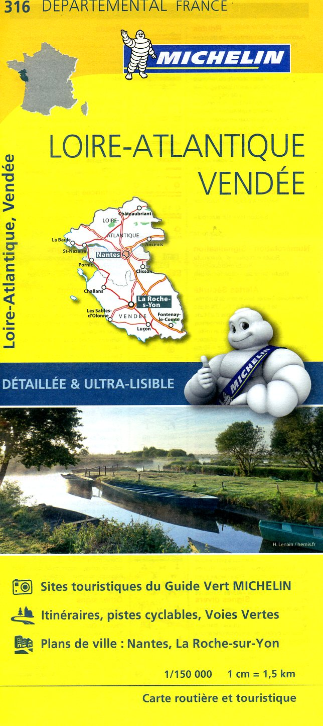 316  Loire-Atlantique, Vendée | wegenkaart, fietskaart 1:150.000 9782067202184  Michelin Local / Departementskaarten  Landkaarten en wegenkaarten Vendée, Charente