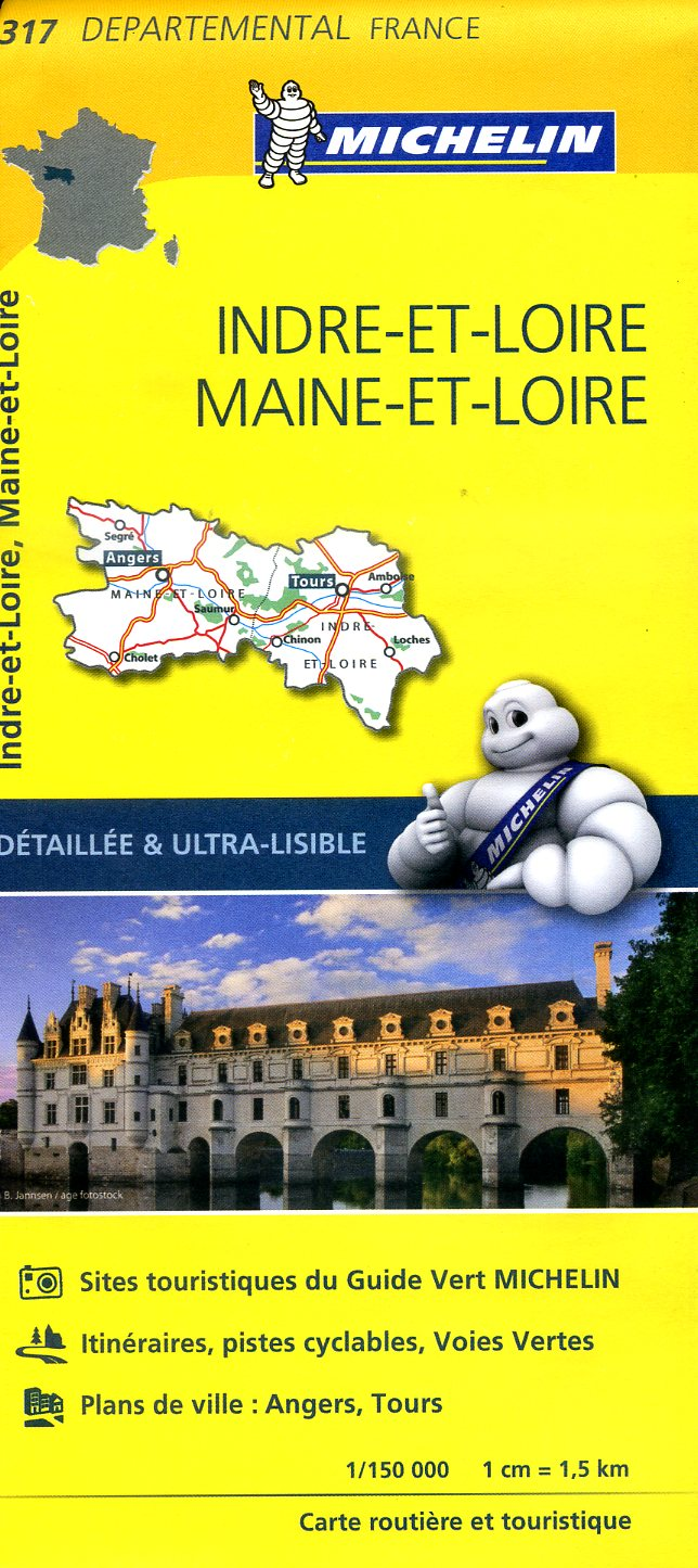 317  Indre-et-Loire, Maine-et-Loire | wegenkaart, fietskaart 1:150.000 9782067202191  Michelin Local / Departementskaarten  Landkaarten en wegenkaarten Loire & Centre