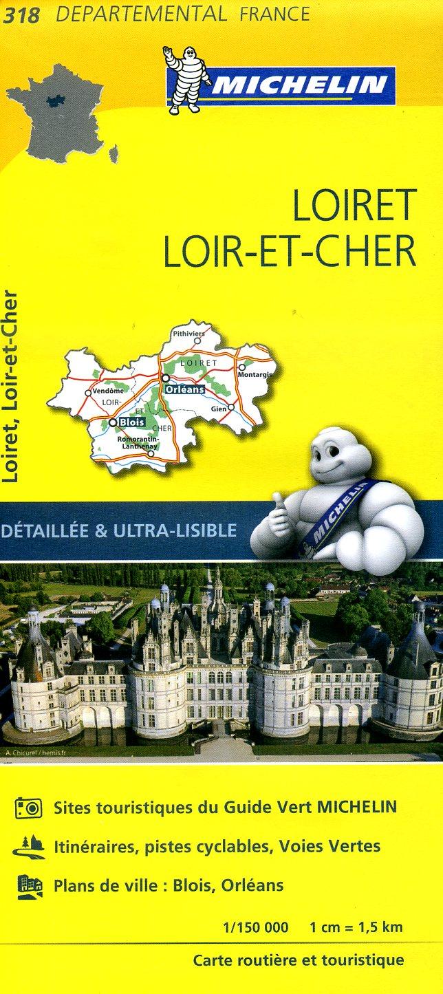 318  Loiret, Loir-et-Cher | wegenkaart, fietskaart 1:150.000 9782067202207  Michelin Local / Departementskaarten  Landkaarten en wegenkaarten Loire & Centre