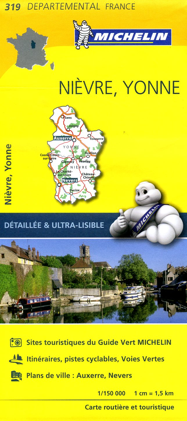 319  Nièvre, Yonne | wegenkaart, fietskaart 1:150.000 9782067202214  Michelin Local / Departementskaarten  Landkaarten en wegenkaarten Bourgogne