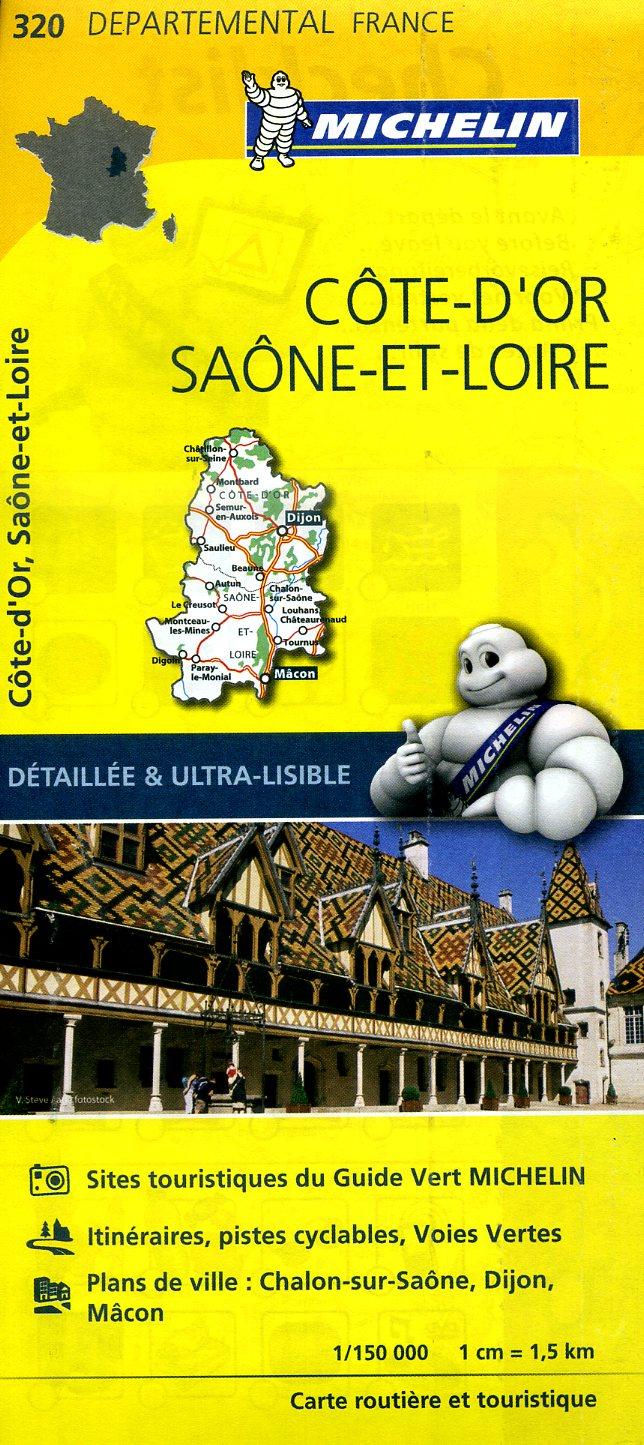 320  Côte-d Or, Saône-et-Loire | wegenkaart, fietskaart 1:150.000 9782067202221  Michelin Local / Departementskaarten  Landkaarten en wegenkaarten Bourgogne