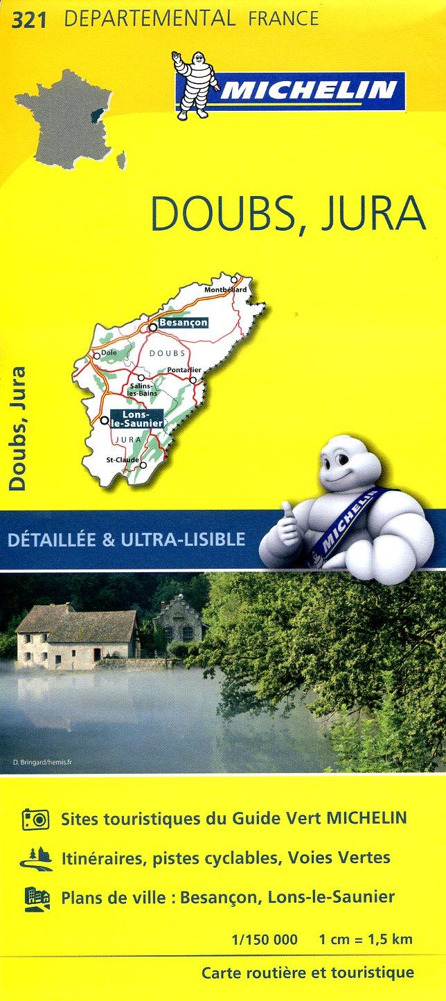 321  Doubs, Jura | wegenkaart, fietskaart 1:150.000 9782067202238  Michelin Local / Departementskaarten  Landkaarten en wegenkaarten Franse Jura