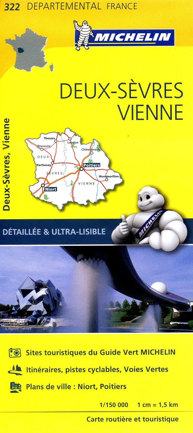 322  Deux-Sèvres, Vienne | wegenkaart, fietskaart 1:150.000 9782067202245  Michelin Local / Departementskaarten  Landkaarten en wegenkaarten Vendée, Charente