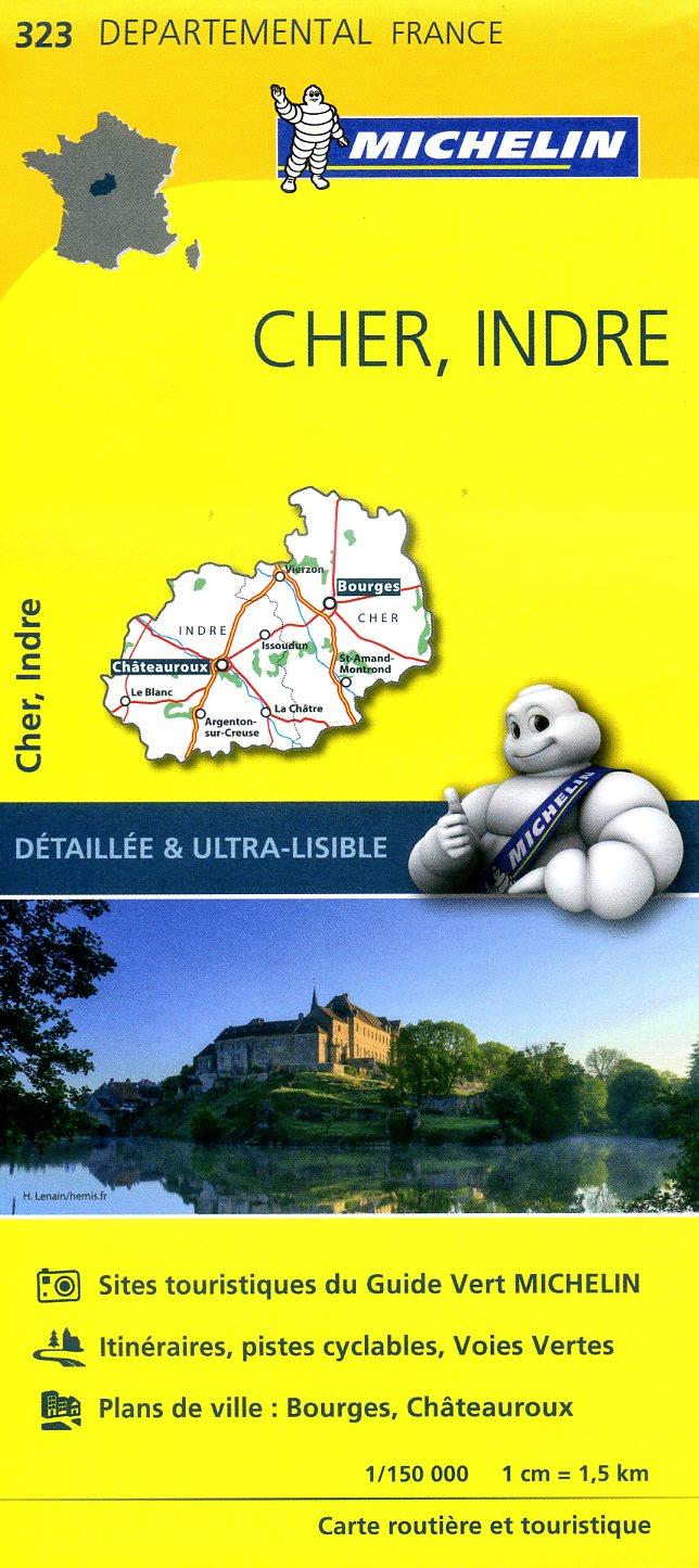 323  Cher, Indre | wegenkaart, fietskaart 1:150.000 9782067202252  Michelin Local / Departementskaarten  Landkaarten en wegenkaarten Loire & Centre