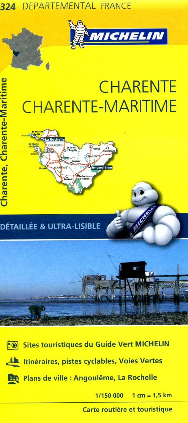 324  Charente, Charente-Maritime   wegenkaart, fietskaart 1:150.000 9782067202269  Michelin Local / Departementskaarten  Landkaarten en wegenkaarten Vendée, Charente