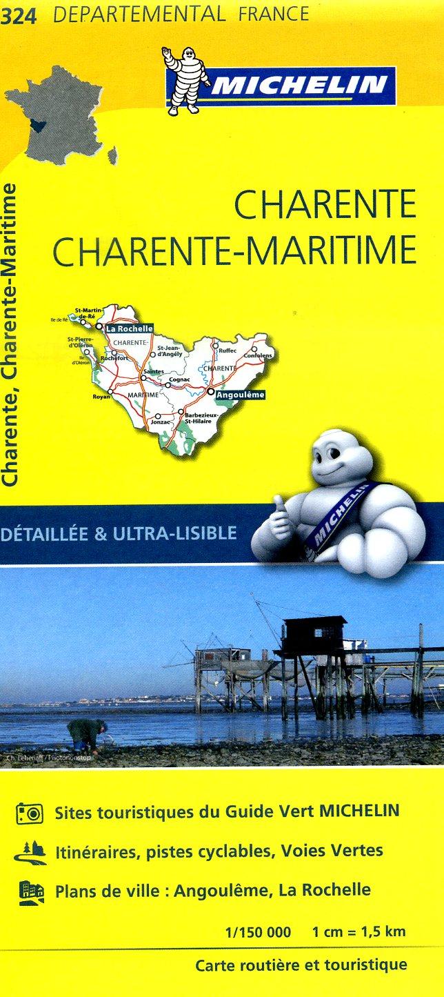 324  Charente, Charente-Maritime | wegenkaart, fietskaart 1:150.000 9782067202269  Michelin Local / Departementskaarten  Landkaarten en wegenkaarten Vendée, Charente