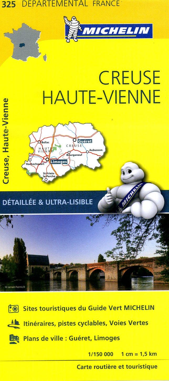 325  Creuse, Haute-Vienne | wegenkaart, fietskaart 1:150.000 9782067202276  Michelin Local / Departementskaarten  Landkaarten en wegenkaarten Creuse, Corrèze