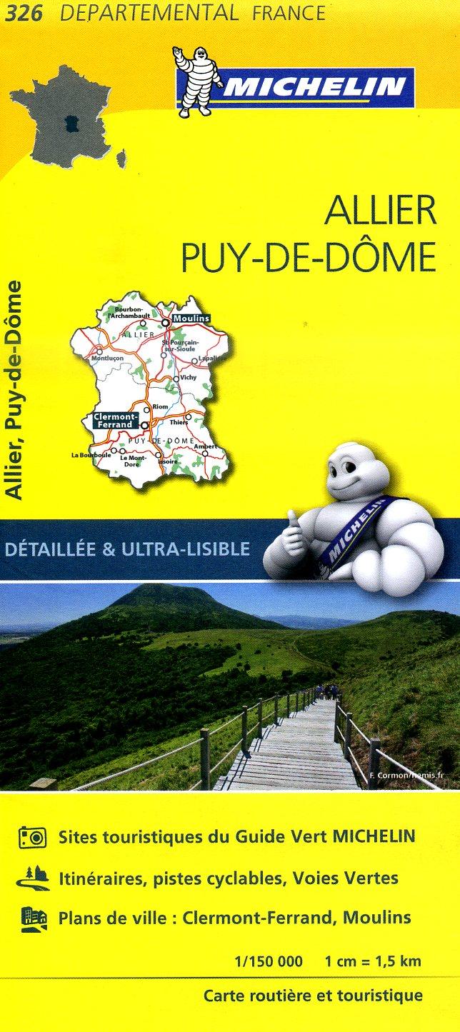 326  Allier, Puy-de-Dôme | wegenkaart, fietskaart 1:150.000 9782067202283  Michelin Local / Departementskaarten  Landkaarten en wegenkaarten Auvergne