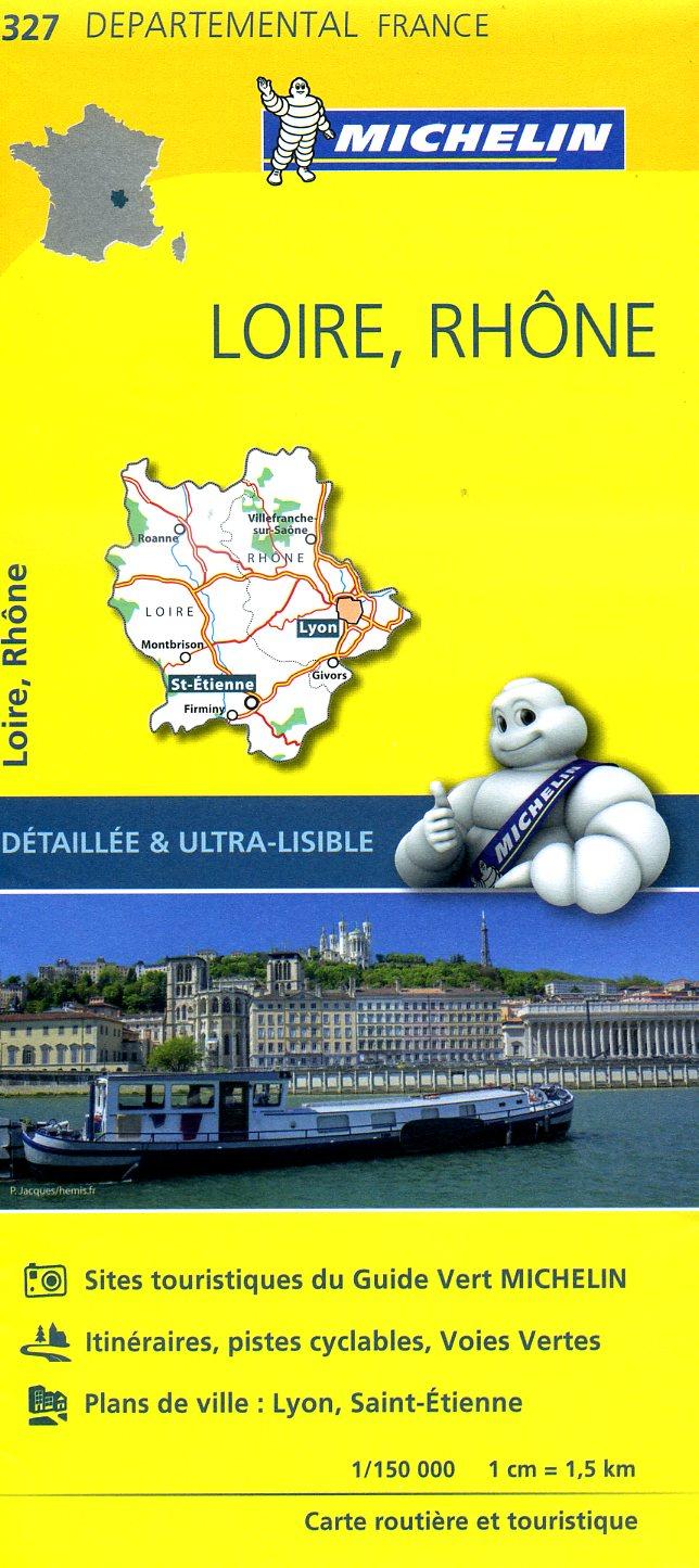 327  Loire, Rhône | wegenkaart, fietskaart 1:150.000 9782067202290  Michelin Local / Departementskaarten  Landkaarten en wegenkaarten Lyon en omgeving