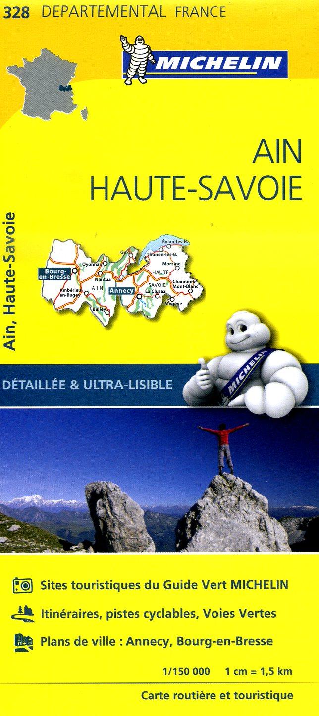 328  Ain, Haute-Savoie | wegenkaart, fietskaart 1:150.000 9782067202306  Michelin Local / Departementskaarten  Landkaarten en wegenkaarten Franse Alpen: noord, Lyon en omgeving