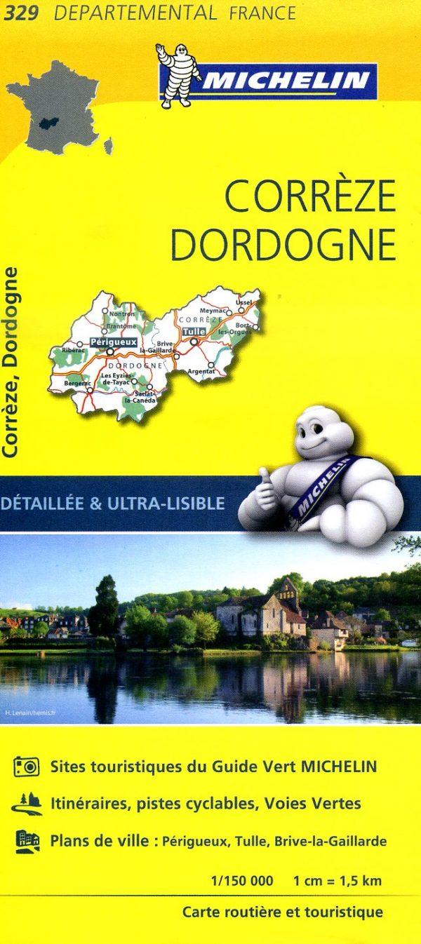 329  Corrèze, Dordogne | wegenkaart, fietskaart 1:150.000 9782067202313  Michelin Local / Departementskaarten  Landkaarten en wegenkaarten Creuse, Corrèze, Dordogne