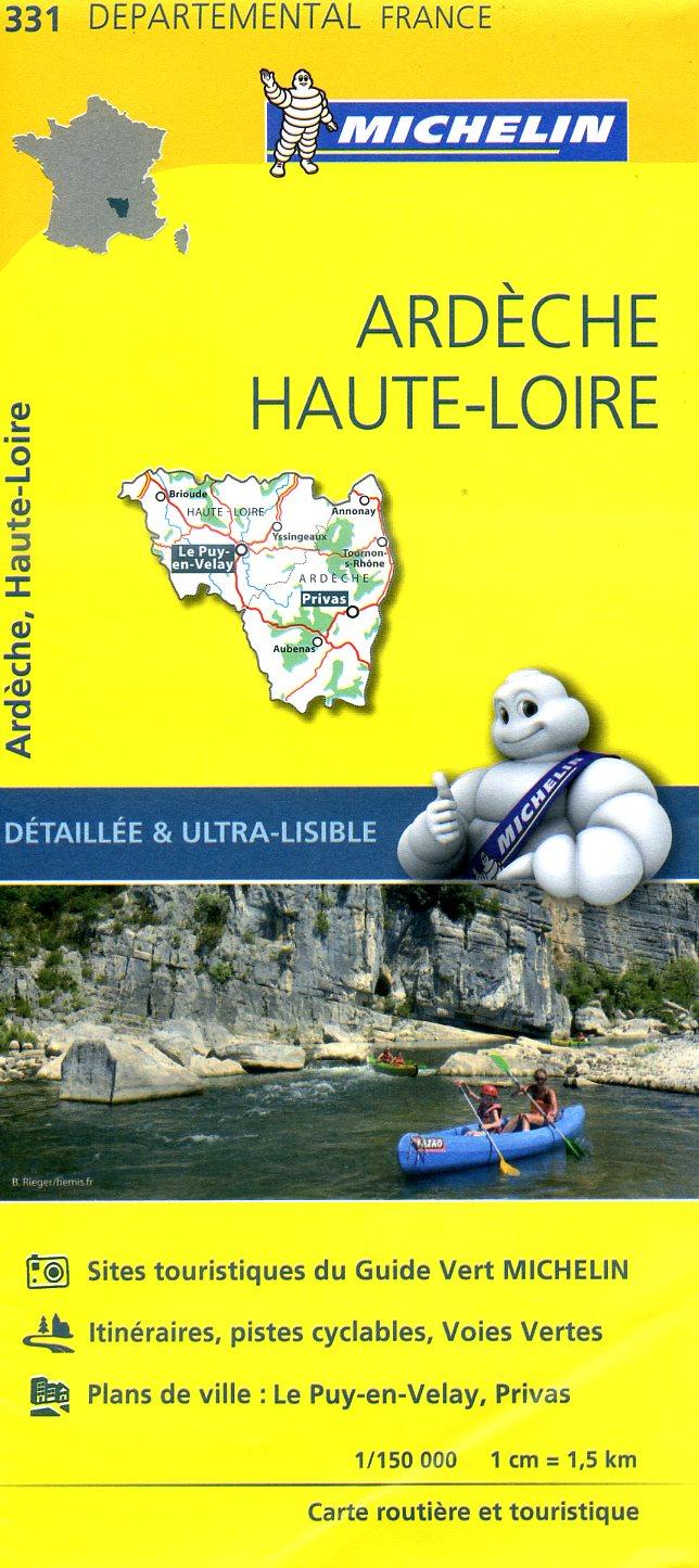 331  Ardèche, Haute-Loire | wegenkaart, fietskaart 1:150.000 9782067202337  Michelin Local / Departementskaarten  Landkaarten en wegenkaarten Ardèche, Drôme, Auvergne