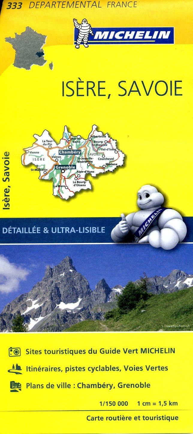 333  Isère, Savoie | wegenkaart, fietskaart 1:150.000 9782067202351  Michelin Local / Departementskaarten  Landkaarten en wegenkaarten Franse Alpen: noord