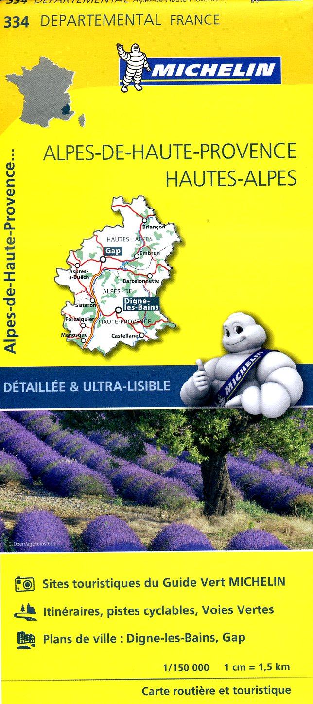 334  Alpes-de-Haute-Provence, Hautes-Alpes | wegenkaart, fietskaart 1:150.000 9782067202368  Michelin Local / Departementskaarten  Landkaarten en wegenkaarten Franse Alpen: zuid