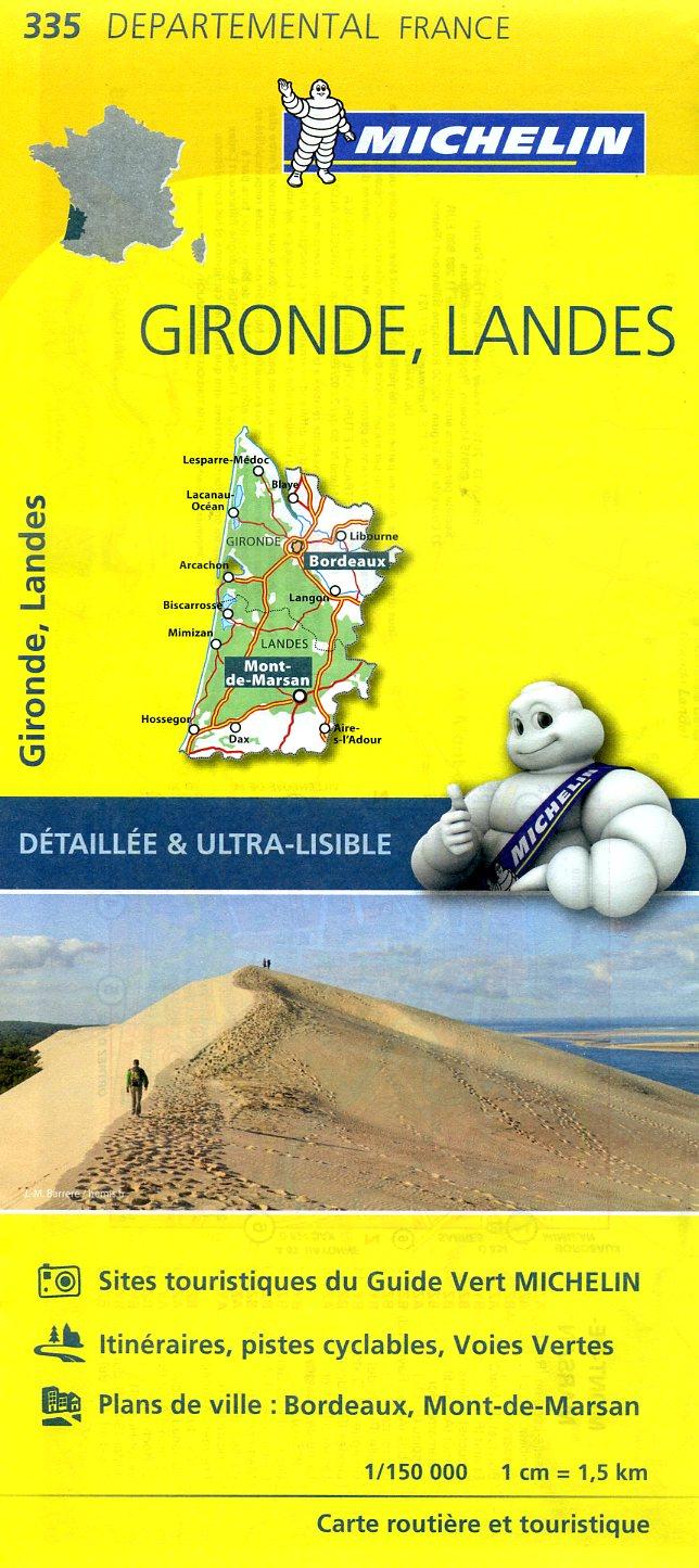 335  Gironde, Landes | wegenkaart, fietskaart 1:150.000 9782067202375  Michelin Local / Departementskaarten  Landkaarten en wegenkaarten Aquitaine, Bordeaux