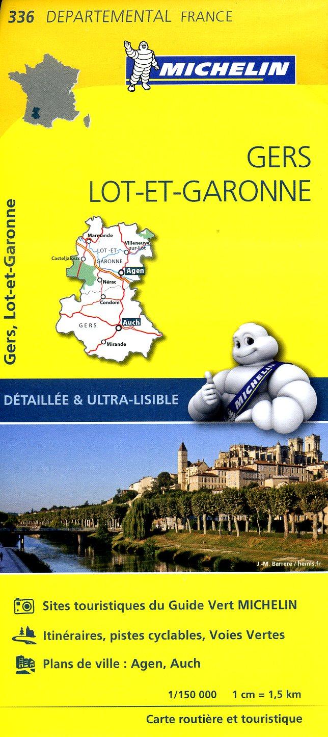 336  Gers, Lot-et-Garonne | wegenkaart, fietskaart 1:150.000 9782067202382  Michelin Local / Departementskaarten  Landkaarten en wegenkaarten Aquitaine, Bordeaux, Lot, Tarn, Toulouse