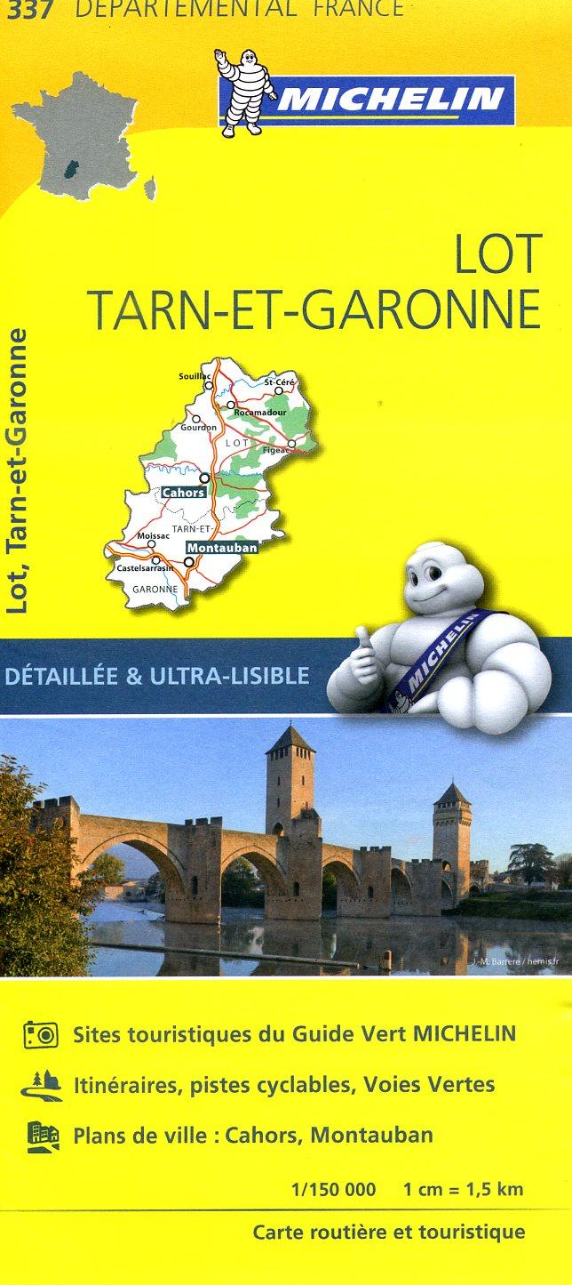 337  Lot, Tarn-et-Garonne | wegenkaart, fietskaart 1:150.000 9782067202399  Michelin Local / Departementskaarten  Landkaarten en wegenkaarten Lot, Tarn, Toulouse