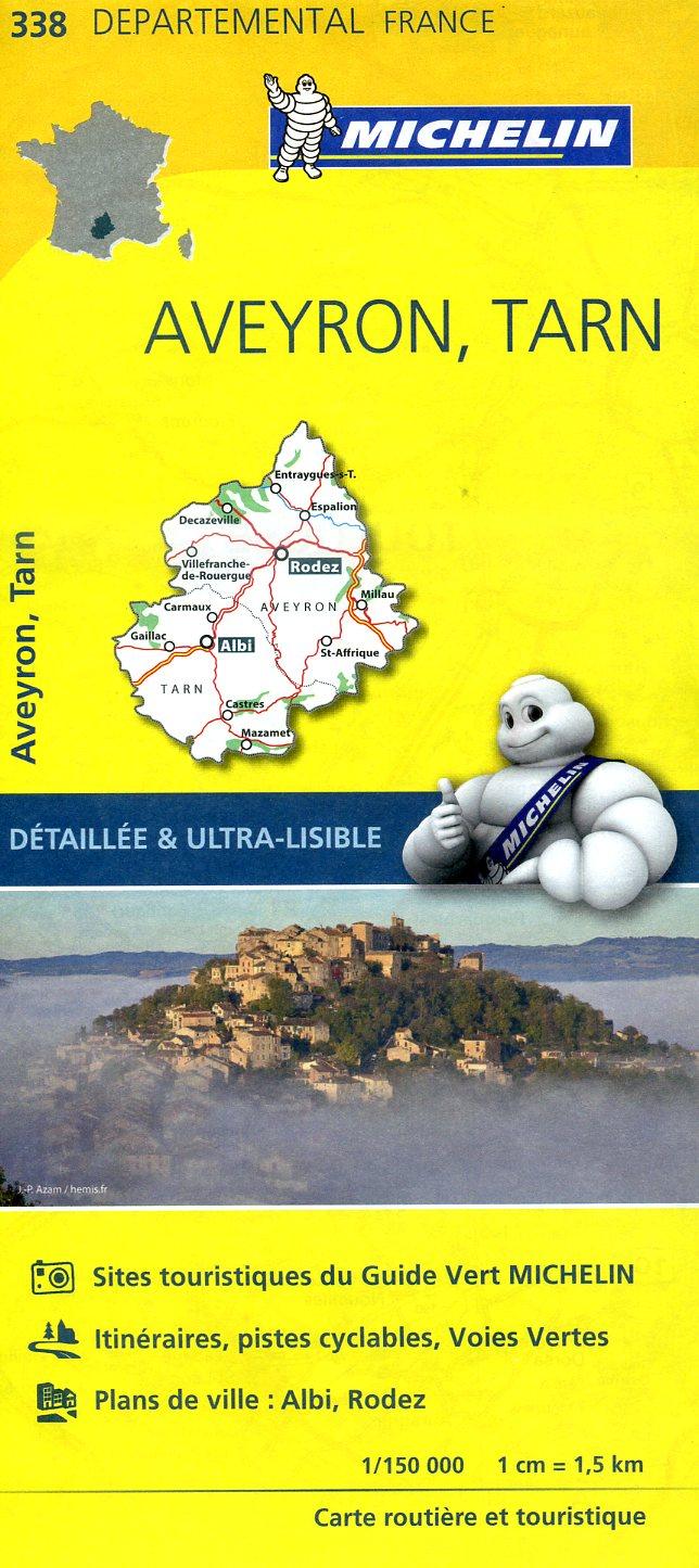 338  Aveyron, Tarn | wegenkaart, fietskaart 1:150.000 9782067202405  Michelin Local / Departementskaarten  Landkaarten en wegenkaarten Lot, Tarn, Toulouse