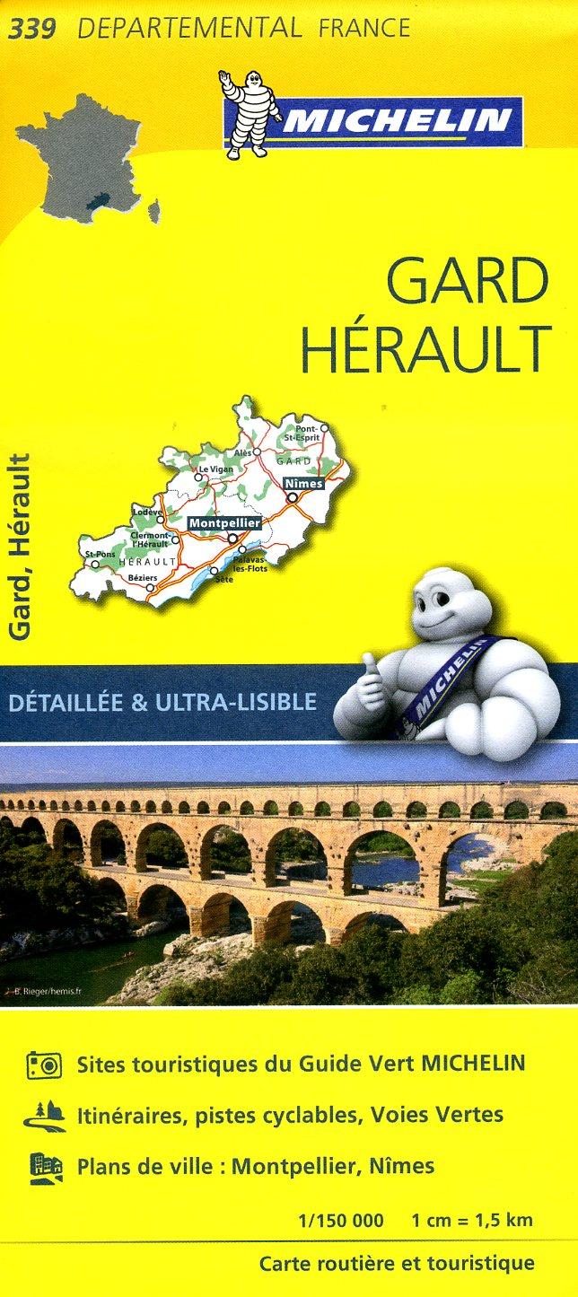 339  Gard, Hérault | wegenkaart, fietskaart 1:150.000 9782067202412  Michelin Local / Departementskaarten  Landkaarten en wegenkaarten Cevennen, Languedoc