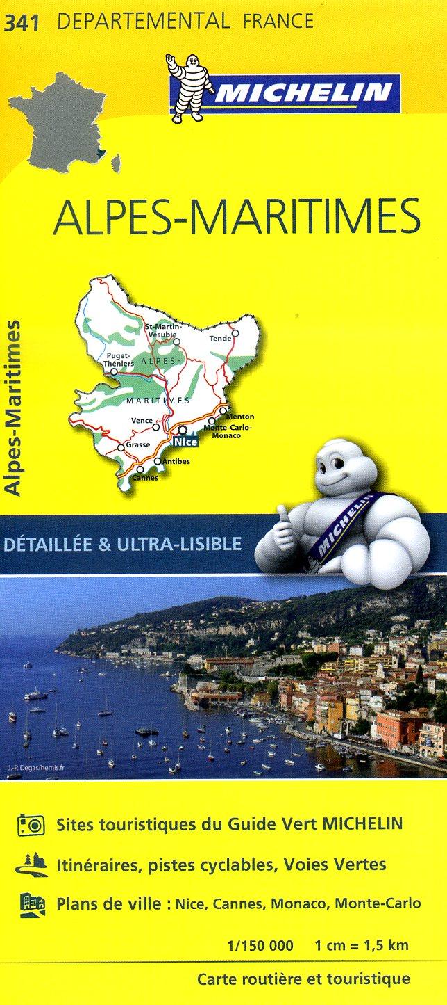 341  Alpes-Maritimes | wegenkaart, fietskaart 1:150.000 9782067202436  Michelin Local / Departementskaarten  Landkaarten en wegenkaarten Côte d'Azur, Franse Alpen: zuid