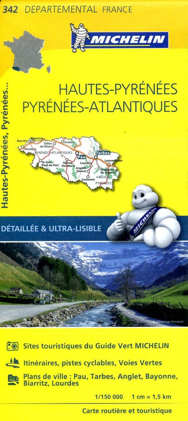 342  Hautes-Pyrénées, Pyrénées Atlantiques | wegenkaart, fietskaart 1:150.000 9782067202443  Michelin Local / Departementskaarten  Landkaarten en wegenkaarten Franse Pyreneeën