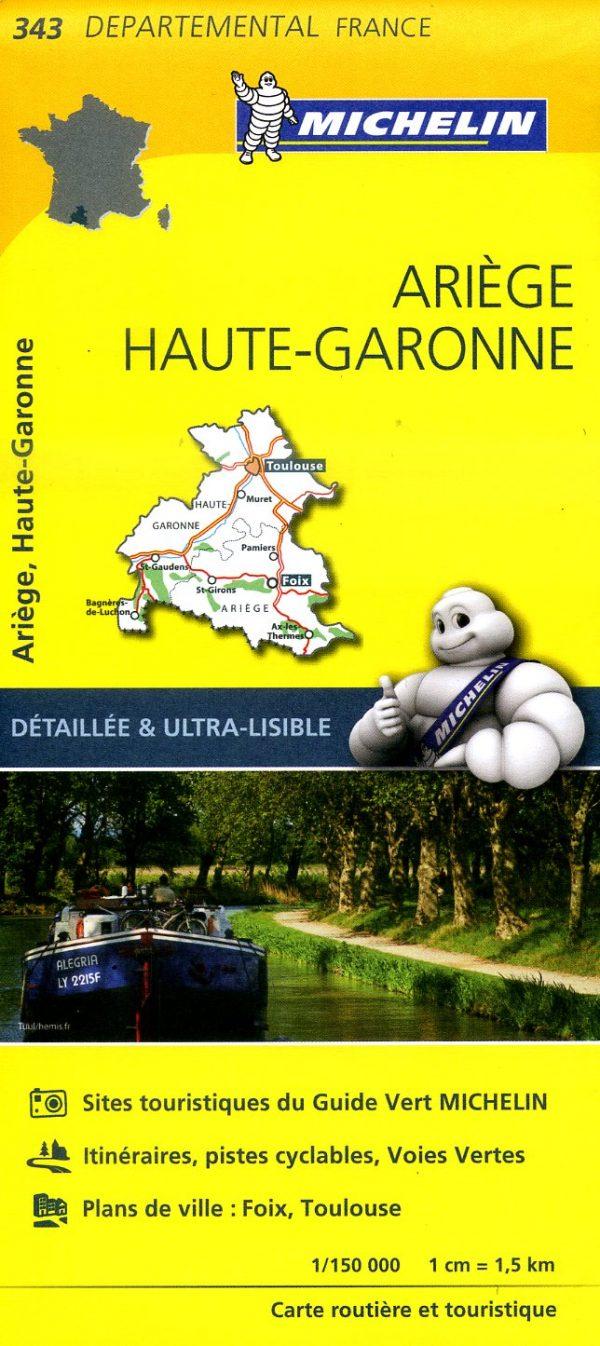 343  Ariège, Haute-Garonne | wegenkaart, fietskaart 1:150.000 9782067202450  Michelin Local / Departementskaarten  Landkaarten en wegenkaarten Franse Pyreneeën