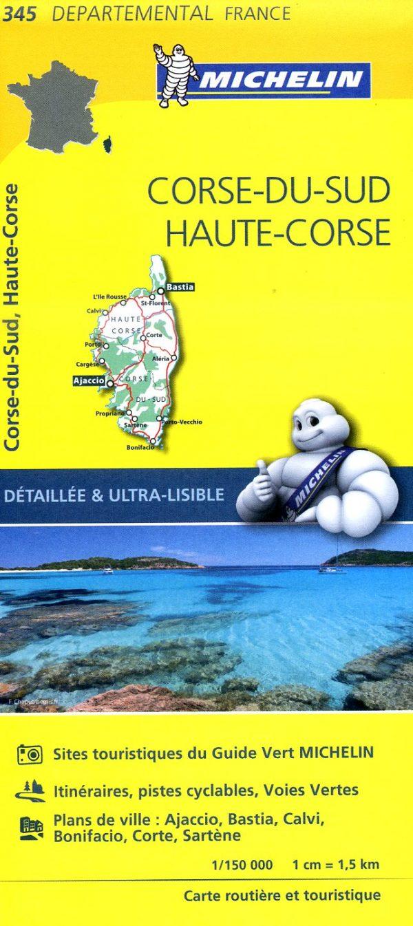 345    Corsica   wegenkaart, fietskaart 1:150.000 9782067202474  Michelin Local / Departementskaarten  Landkaarten en wegenkaarten Corsica