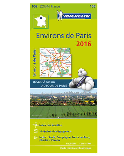106 Paris 1:100.000 2016 9782067209800  Michelin Zoom  Landkaarten en wegenkaarten Parijs, Île-de-France