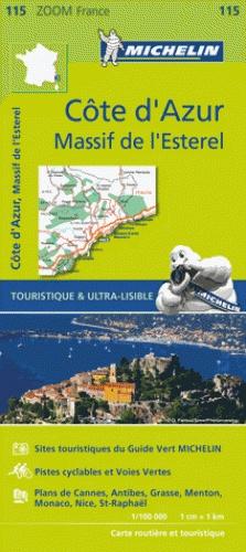 115 Cote d'Azur/Alpes Maritimes 1:100.000 9782067209831  Michelin Zoom  Landkaarten en wegenkaarten Côte d'Azur