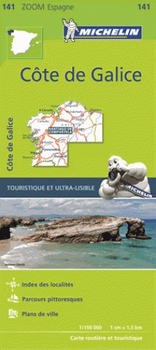 141  Costa de Galicia - zoom 1:150.000 9782067217997  Michelin Michelin Spanje, Zoom  Landkaarten en wegenkaarten, Santiago de Compostela Noordwest-Spanje, Compostela, Picos de Europa
