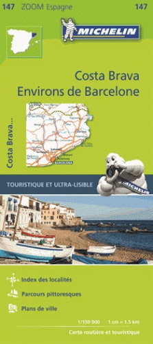 147 Barcelona y alrededores - zoom 1:150.000 9782067218178  Michelin Michelin Spanje, Zoom  Landkaarten en wegenkaarten Catalonië, Barcelona