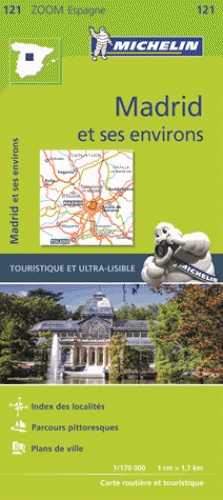 121  Madrid en omstreken - zoom 1:170.000 9782067219618  Michelin Michelin Spanje, Zoom  Landkaarten en wegenkaarten Madrid