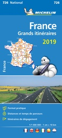 726 Grands Itinéraires France 1:1.000.000 2019 9782067236585  Michelin Michelinkaarten Jaaredities  Landkaarten en wegenkaarten Frankrijk