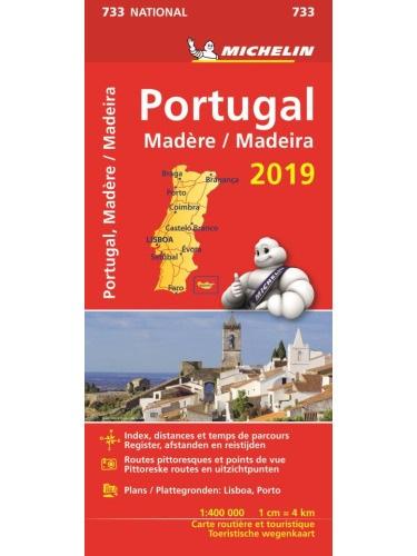 733 Portugal 2019 | Michelin  wegenkaart, autokaart 1:400.000 9782067236653  Michelin Michelinkaarten Jaaredities  Landkaarten en wegenkaarten Portugal