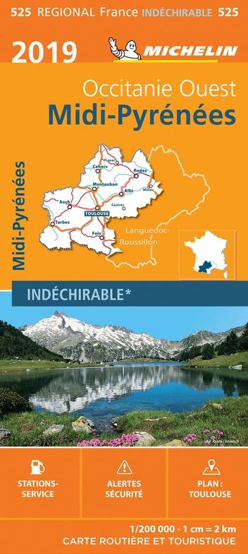 525 Midi-Pyrénées 1:200.000 2019 9782067236899  Michelin Regionale kaarten  Landkaarten en wegenkaarten Franse Pyreneeën