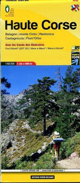 LB-08  Haute Corse (Corsica-noord) | wandelkaart 1:60.000 9782723476713  Libris Éditions Didier Richard  Wandelkaarten Corsica