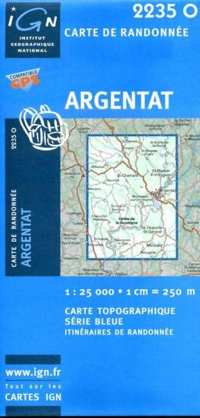 2235 Ouest  Argentat (2235O) 9782758501091  IGN Serie Bleue 1:25.000  Wandelkaarten Creuse, Corrèze, Dordogne