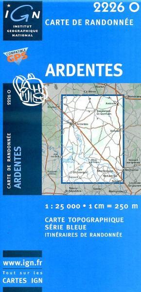 2226O Ardentes, Nohant 9782758502548  IGN Serie Bleue  Wandelkaarten Loire & Centre
