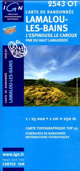 2543OT   Lamalou-les-Bains, Olargues | wandelkaart 1:25.000 9782758504771  IGN TOP 25  Wandelkaarten Cevennen, Languedoc