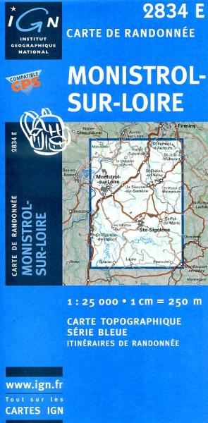 2834 Est Monistrol-sur-Loire, Sainte-Sigolène 9782758504856  IGN Serie Bleue 1:25.000  Wandelkaarten Lyon en omgeving