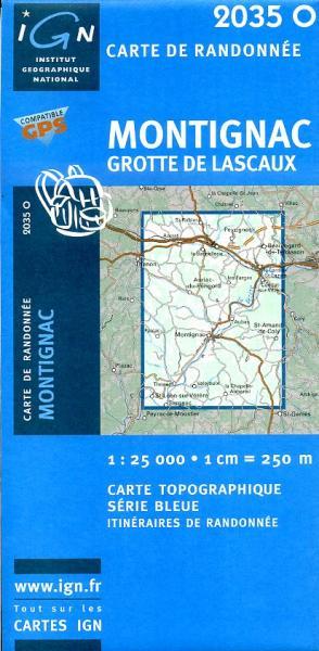 2035 Ouest  Montignac / Grotte de Lascaux 9782758505136  IGN Serie Bleue 1:25.000  Wandelkaarten Dordogne