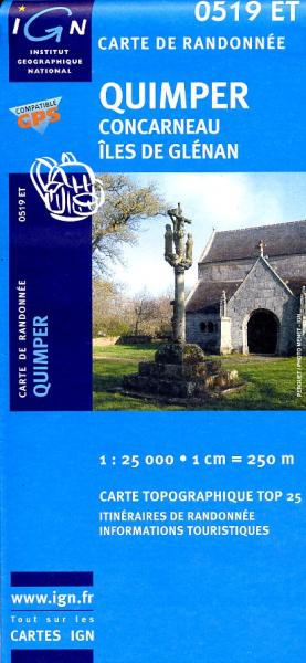 0519ET  omgeving Quimper, Concarneau | wandelkaart 1:25.000 9782758505273  IGN IGN 25 Bretagne  Wandelkaarten Bretagne