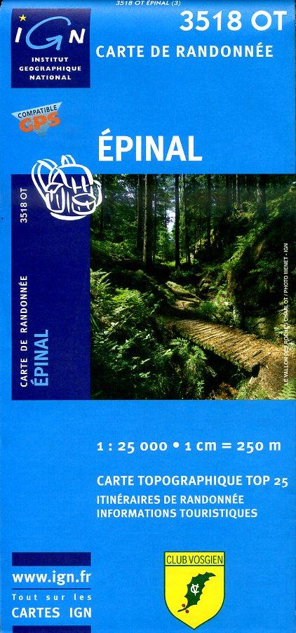 3518OT  omgeving Épinal | wandelkaart 1:25.000 9782758510581  IGN TOP 25  Wandelkaarten Vogezen