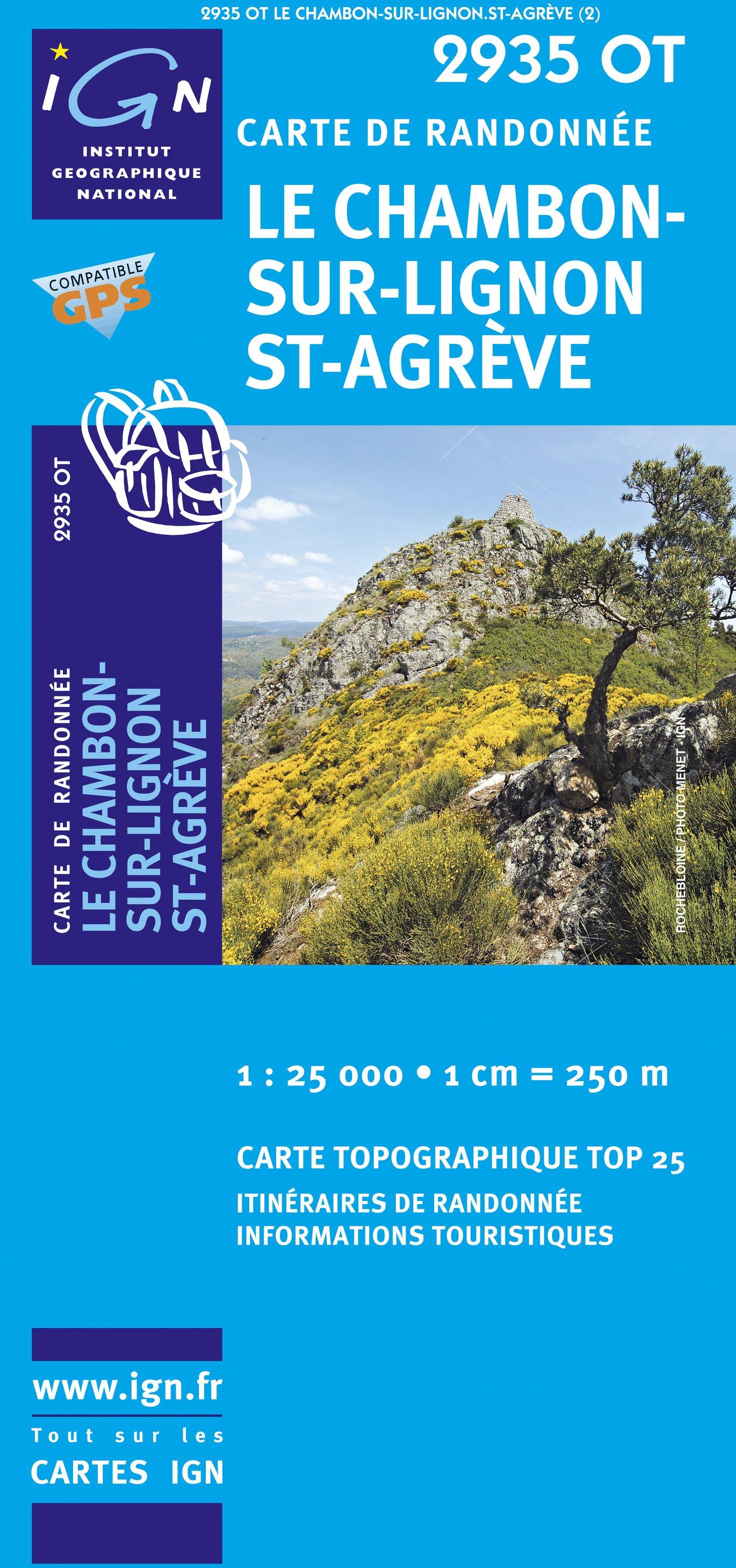 2935OT Le Chambon-sur-Lignon, St-Agèvre | wandelkaart 1:25.000 9782758513919  IGN IGN 25 Ardèche / Drôme  Wandelkaarten Ardèche, Drôme